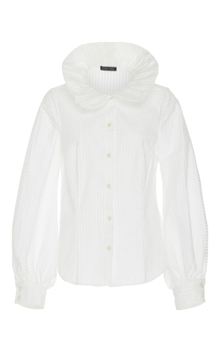 Medium mds stripes white peasant sleeve blouse
