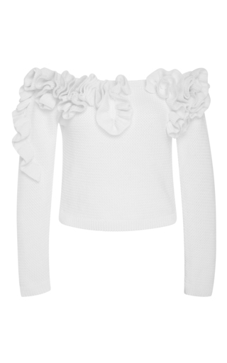 Medium delpozo white off the shoulder ruffled cotton sweater