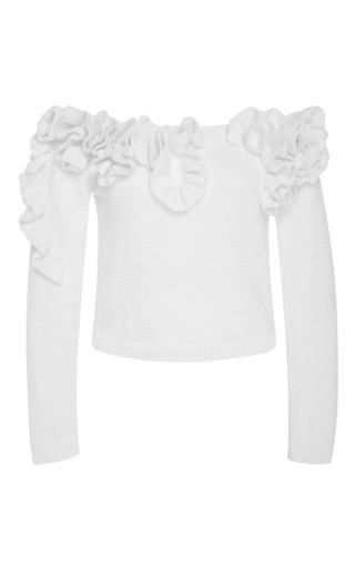 Medium delpozo white off the shoulder ruffled cotton sweater