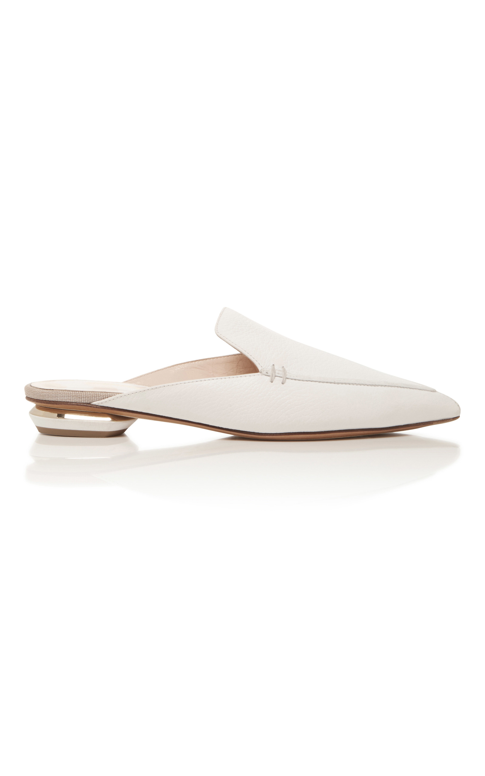 9c0dd3863e8 Nicholas Kirkwood Beya Grained-Leather Backless Loafers In White ...