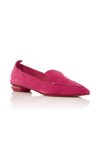 Medium nicholas kirkwood fuchsia pink beya suede loafers