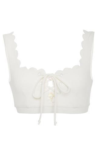 Medium marysia swim white palm springs tie bikini top