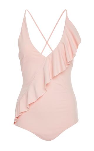 Medium marysia swim pink palisades ruffle maillot