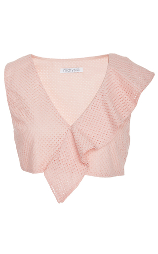 Medium marysia swim pink rose seahaven asymmetric ruffle top