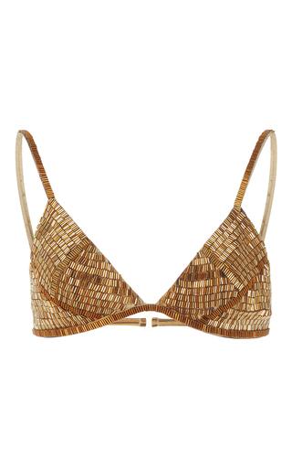 Medium agua de coco gold palhas beaded bikini top