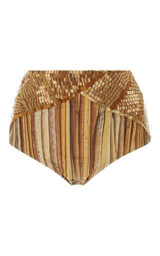 Medium agua de coco gold high waist beaded bikini bottoms