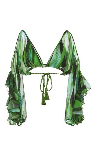 Medium agua de coco green folhas draped bikini top