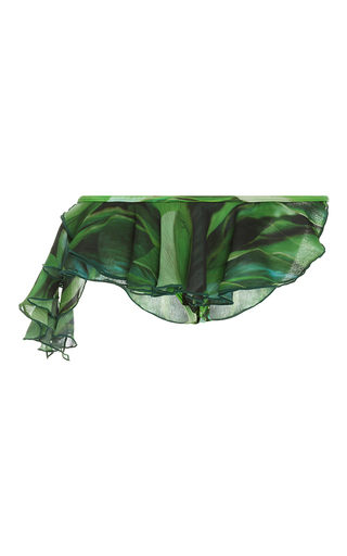 Medium agua de coco green folhas ruffle bikini bottoms