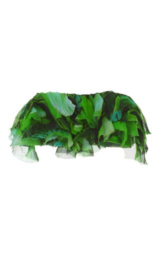 Medium agua de coco print folhas ruffle bikini top