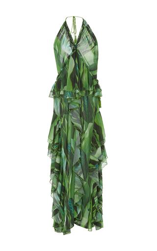 Medium agua de coco print folhas draped ruffle maxi dress