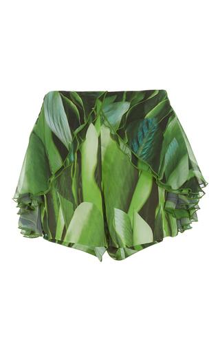 Medium agua de coco print folhas ruffle shorts