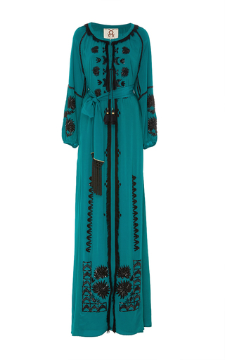 Medium figue green emerald tula beaded gown