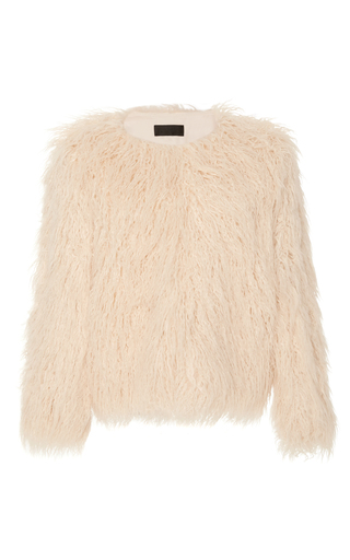 Medium nili lotan ivory lena faux mongolian fur jacket