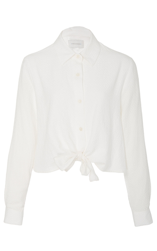 Medium solid striped white taylor cropped tie front shirt