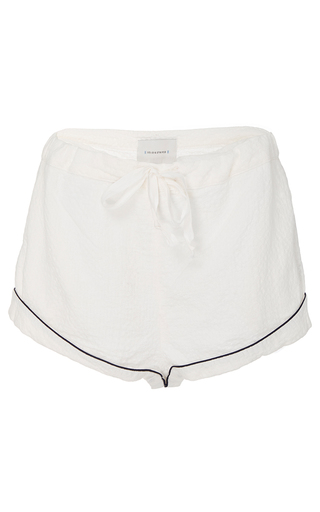 Medium solid striped white tracy poper mini short