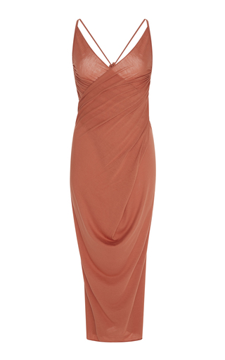 Medium rick owens lilies orange wrap effect jersey dress