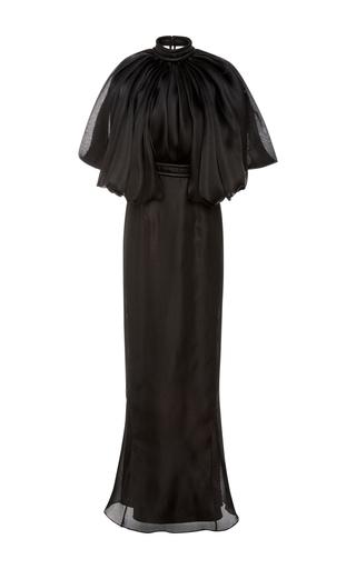 Medium brandon maxwell black flounce shoulder column dress