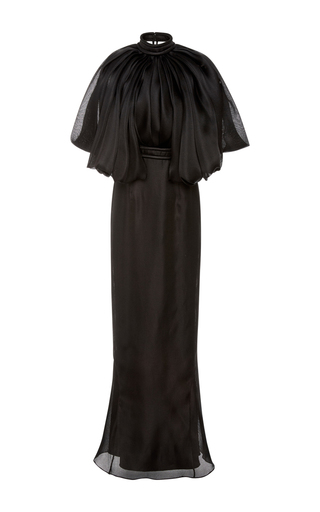 Medium brandon maxwell black flounce shoulder column dress