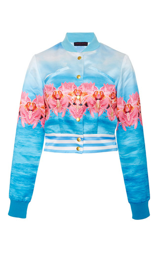 Medium manish arora print paradise hand embroidered bomber jacket