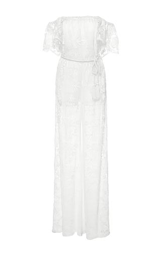 Medium miguelina white brisa off the shoulder jumpsuit