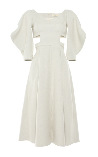 Medium tata naka white cutwork dress with full sleeves