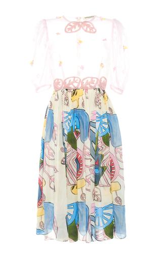Medium tata naka print puff sleeve gathered dress