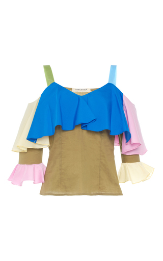 Medium tata naka blue frill open shoulder top