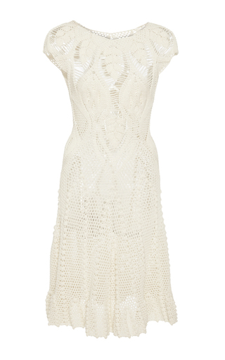 Medium helen rodel white leaf crochet mini dress