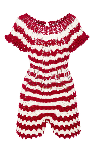 Medium helen rodel red iceland knit playsuit