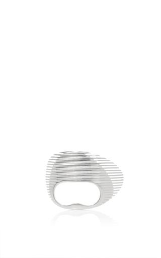 Medium georg jensen x zaha hadid silver lamellae double ring in silver