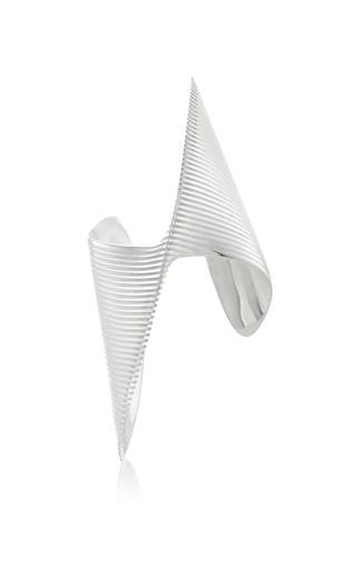 Medium georg jensen x zaha hadid silver lamellae twisted cuff in silver