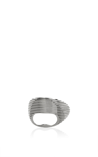 Lamellae Ring In Black Rhodium by GEORG JENSEN X ZAHA HADID for Preorder on Moda Operandi