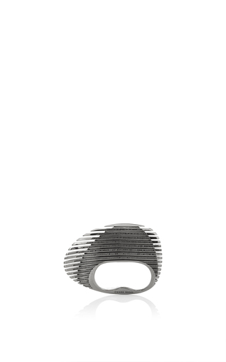 Medium georg jensen x zaha hadid black lamellae ring in black rhodium