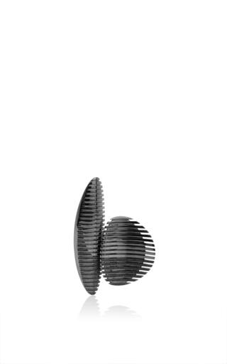 Medium georg jensen x zaha hadid black lamellae open ring in black rhodium