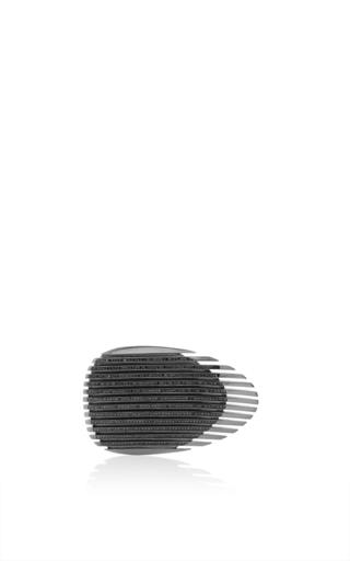 Medium georg jensen x zaha hadid black lamellae ring ii in black rhodium