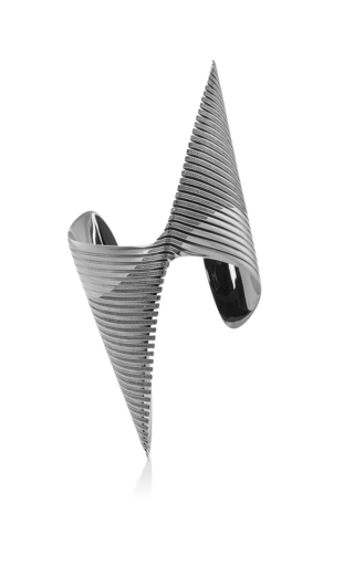 Medium georg jensen x zaha hadid black lamellae cuff in black rhodium