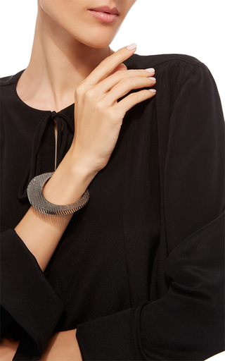 Lamellae Bangle In Black Rhodium by GEORG JENSEN X ZAHA HADID for Preorder on Moda Operandi