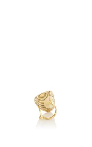 Lamellae Long Ring In Yellow Gold by GEORG JENSEN X ZAHA HADID for Preorder on Moda Operandi