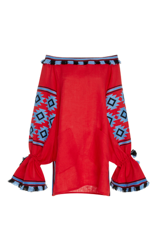 Medium march11 red embroidered linen blouse