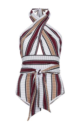 Medium karla colletto stripe palazzo wrap halter neck one piece