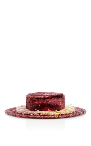 Medium behida dolic millinery purple greta boater hat