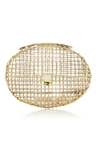 Medium anndra neen gold oval cage clutch