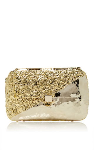 Medium anndra neen gold diagonal melted clutch