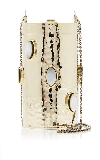 Medium anndra neen gold claribel metal crossbody bag