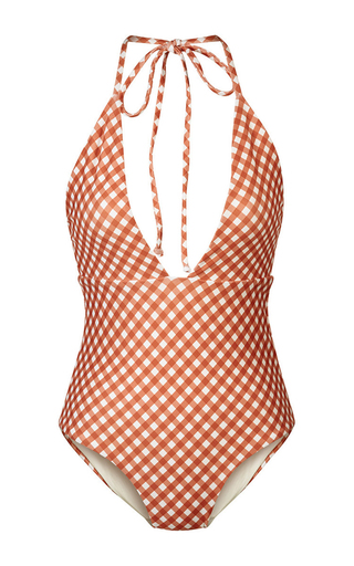 Medium camp cove plaid annie gingham v neck one piece