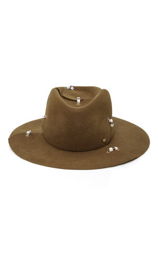 Medium maison michel brown embellished rabbit felt fedora