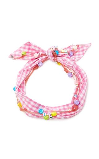 Medium maison michel pink calie embellished gingham cotton headband