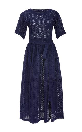 Medium lisa marie fernandez navy short sleeve navy eyelet midi dress