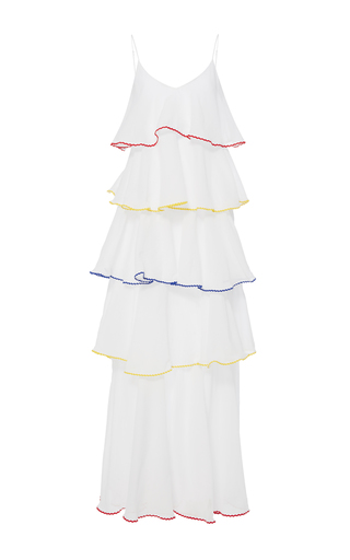 Medium lisa marie fernandez white tiered flounce dress with multicolored trim