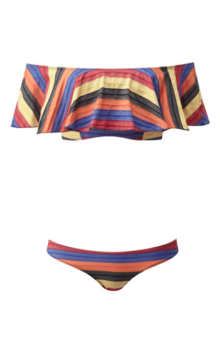 Medium lisa marie fernandez stripe mira flounce bikini set